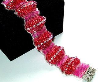 Fuchsia & Hot Pink Beadwoven Cuff Bracelet, Hand Made