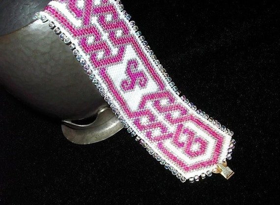 Pink Celtic Knotwork Bracelet - Beadwoven Cuff, Hand Made