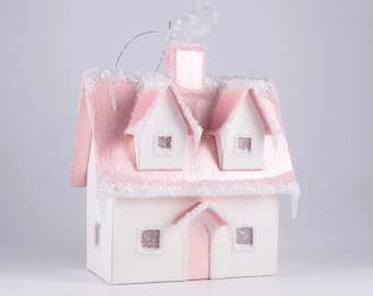 Christmas Village Glitter House Ornament - Cape Cod