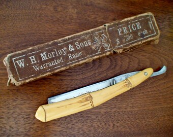 W.H.Morley&Sons Barber's Warranted Clover Straight Razor Celluloid Bamboo Handle Hamburg Ground Blade,Marked Germany,Trade Mark,Orig.Package