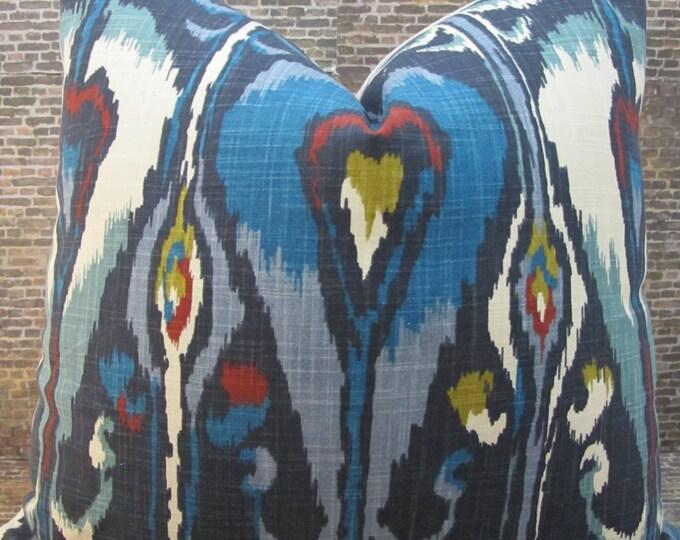 Designer Pillow Cover - 16 x 16- Robert Allen Dark Blue Ikat