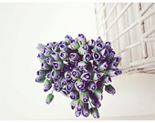 Mulberry Scrapbooking paper flower tiny purple rose Buds for crafting, wedding decoration / pack