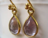 Gold Vermeil Earrings Pink Amethyst Beautiful Sparkle for Evening or Holidays
