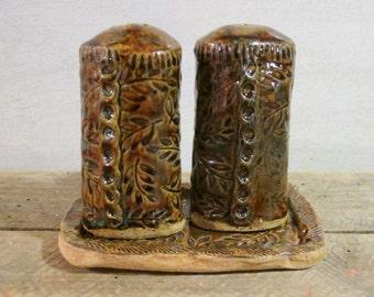 Ceramic Salt and Pepper Shaker Set, Handmade Pottery Salt and Pepper Shakers, Fern Motif Ceramics, Rustic Kitchenware