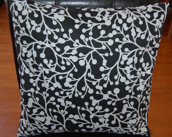 16 x 16 Cushion Covers with  Black Background and White Cherry Print