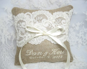 Personalized Burlap Ring Bearer Pillow, Lace Rustic Wedding Pillow, Burlap Ring Pillow, Custom, Personalized, Ring Pillow