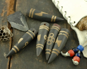 Thunder & Lightning Dzi Beads Tibetan Agate Tusk Amulet Bead, 55x13mm / 1 Bead, Pendant / Buddhist Beads, Craft Supplies / Desires, Wealth