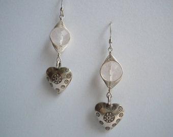 Lovable Pink Rose Quartz Handmade Wire Wrapped Herringbone Thai Silver Gentle Sweet and Cute Earrings