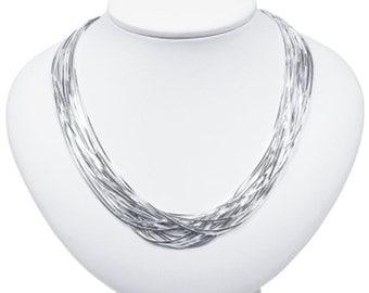 Go Go Multi-Strand 925 Sterling Silver Necklace                    CC-30022