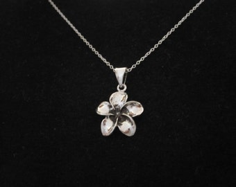 Oxidized 925 sterling silver FRANGIPANI PLUMERIA FLOWER pendant and chain necklace, beach necklace