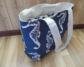 Medium Beach Bag/Gym tote/Pool tote-Sea Horses