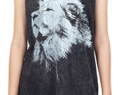 Lion Tank Top Lion Shirt Lion Aslan Narnia Stonewashed Bleached Animal Tank Women Shirt Tunic Top Vest Tank Top Size M,L,XL - IZJBT49