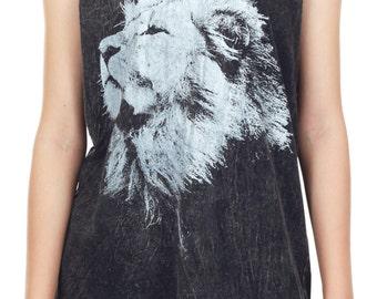 Lion Tank Top Lion Shirt Lion Aslan Narnia Stonewashed Bleached Animal Tank Women Shirt Tunic Top Vest Tank Top Size M,L,XL - IZJBT140