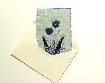 Thank you card, Dark Blue Flowers, fiber art card, unusual botanical art, botanical artwork, home decor blue and white, home decor with blue