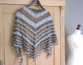 BROWN - BLUE Tree leafs- hand knitted shawl