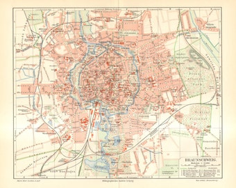 1902 Original Antique City Map of Braunschweig or Brunswick