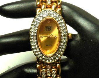 vintage Quartz Watch Elizabeth TAYLOR Womens Stylish Working Wrist gold tone sparkling rhinestones
