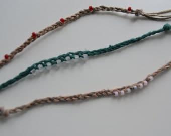 Wish Bracelets, Hemp Bracelets, Natural Bracelets, Bead Bracelets