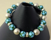 Indonesian Lampwork and Pewter stretch bracelet