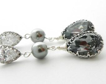 Gray Bridesmaid Earrings, Bridesmaid Set Of 8, Silver Night Swarovski Earrings, Pearl and Crystal Earrings, Old Hollywood Bridesmaid Jewelry