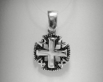 PE000901  Sterling silver pendant Jerusalem cross solid 925