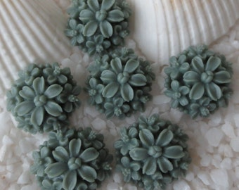 Resin Multi 3D Flower Cabochon - 14mm - Gray - 12 pcs