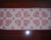 Perfectly Pink Hearts make a darling Valentine's Day Table Mat or Runner, hand crafted