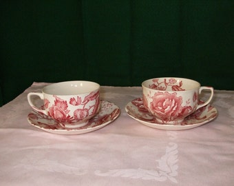 """Johnson Brothers English """"Chippendale"""" Cups and Saucers"""