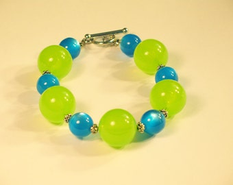 Bright Green and Blue Acrylic Bracelet