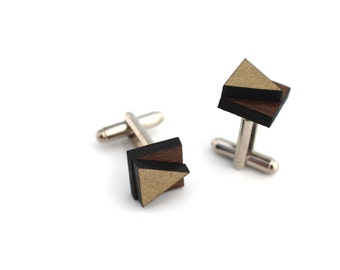 Wood Cuff Links, Metallic Remix Cuff Links, Laser Cut Wooden Metallic Geometric Layered Cuff Links For Men and Women
