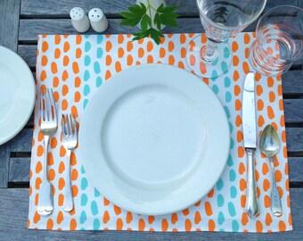 Modern Brushstroke Striped Dot Pattern Linen Placemat choice of Color Original Design Nadine Westcott Choice of Color Handmade on Nantucket