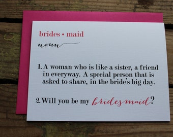Will you be my Bridesmaid, Matron/Maid of Honor, Wedding Party Card, Card with Envelopes - You pick the # of cards