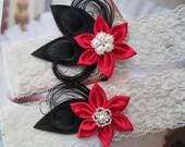 RED WEDDING Garter Set, BLACK Garters, Black Peacock Garters, Ivory Lace Garters, Steampunk Weddings, Vintage Circus Weddings