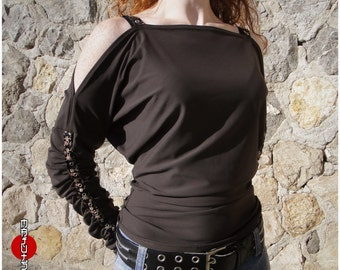 Top Bat sleeves brown