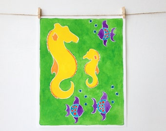 Beach Nursery Art - Seahorse Art - Coral Reef Art - Girls Room Decor - Boys Room Decor - Colorful Wall Art - Personalized - Beach Themed