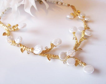 Coin Pearl Statement Wedding Bridal Necklace on Gold tone Branches Pageant Jewelry