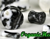 "Zebra Stone Double Flare Plugs 8g-1"" (Sold as Pair) Handmade Jewelry (8g, 6g, 4g, 2g, 0g, 00g, 1/2"", 9/16"", 5/8"", 3/4"", 7/8"", 1"")"