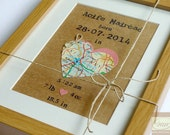 The Map of New Life - New Baby Bespoke Map Heart - Newborn Baby Girl Boy Framed Wall Art  - Handmade in Ireland