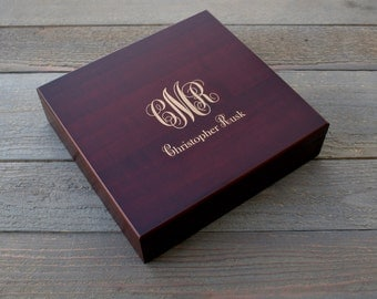 Personalized Humidor Custom Engraved with Monogram and Name