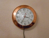 Vintage copper kitchen clock Harmony House copper kitchen clock elecrtic kitchen clock electric copper wall clock working