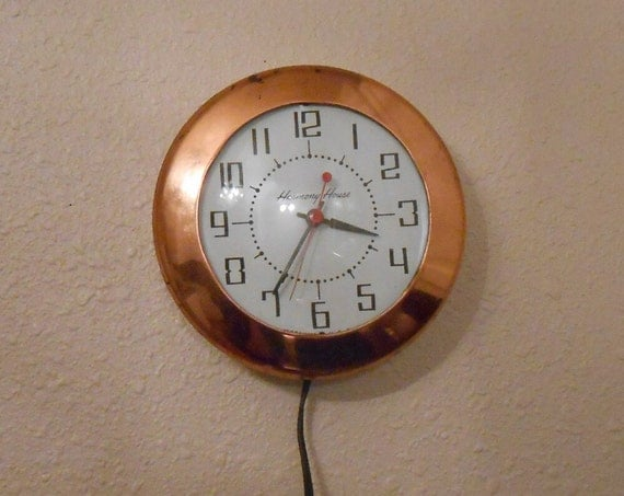 Vintage Copper Kitchen Clock Harmony House Copper Kitchen