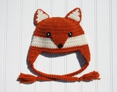 Crochet Fox Hat, Earflap Dark Orange with Braids, Boy Girl Fox Hat Childs Fox Hat Crochet Prop Fox Hat Fox Child Hat, Child Size (Item 1566)