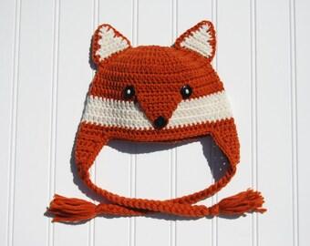 Fox Baby Hat, Crochet Photo Prop Dark Orange with Braids, Fox Hat Crochet Fox Hat Fox Baby Hat Animal Hat, Newborn to 3 Month Size