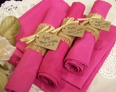 burlap wedding, 25 napkins and rings, FUSCHIA napkins, dinner napkins, wedding rehearsal