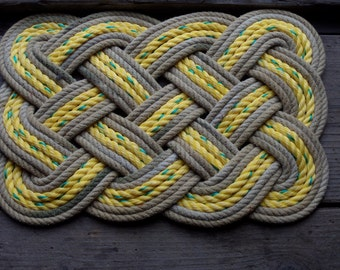 "Doormat 20 x 15"" Yellow With Brown Khaki Accent.  Rope Rug Recycled"