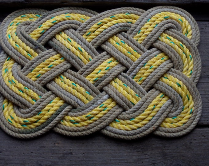 """Doormat 20 x 15"""" Yellow With Brown Khaki Accent.  Rope Rug Recycled"""