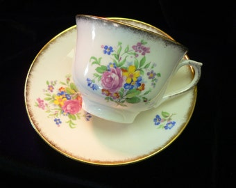 Colclough Genuine Bone China Floral Decor Cup and Saucer