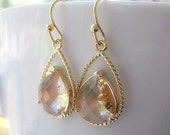 Blush Drop Earrings, Bridesmaids, Champagne Gold Glass Dangle Teardrop Earrings, Wedding, 14K Gold Filled Wire, Pink Peach, Sets Available