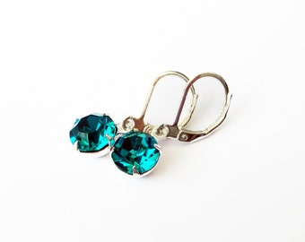 BLUE ZIRCON Color Glass Round Earrings
