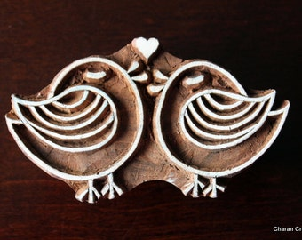 Wood Block Stamp, Tjaps, Indian Wood Stamp, Pottery Stamp, Textile Stamp,Blockprint stamp, Hand Carved - Cute LoveBirds